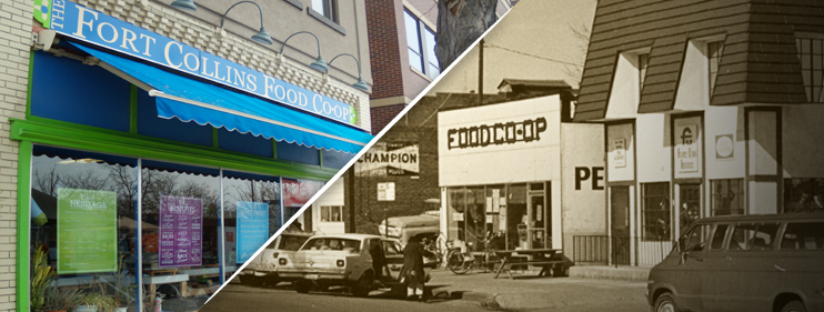 shows the current facade of the Fort Collins Food Co-op as well as a photo of how the store looked in the past