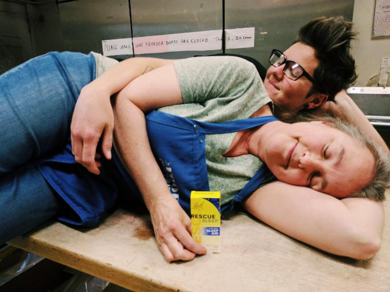 Chris and Trinity of the Food Co-op staff resting peacefully thanks to Bach Rescue Sleep Spray